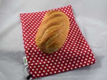 Nowaste, környezettudatos, bélelt kenyérzsák, vagy wetbag, M méret, pöttyös
