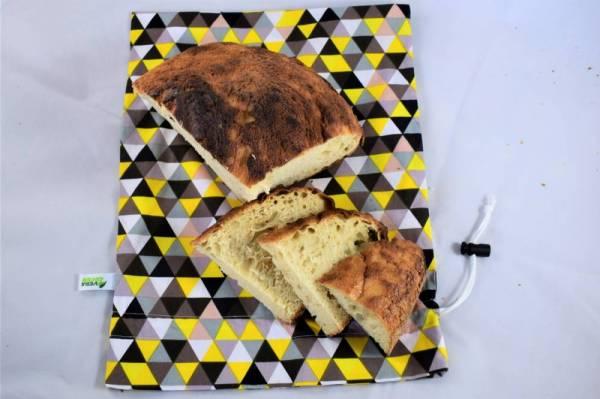 Nowaste, környezettudatos, bélelt kenyérzsák, vagy wetbag, L méret, sárga