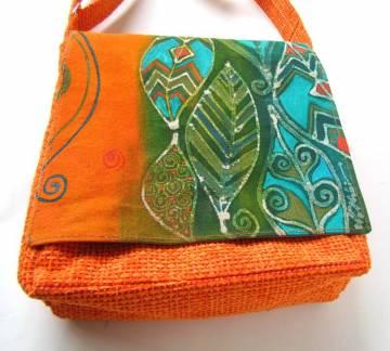 Egyedi festett táska - Levelek