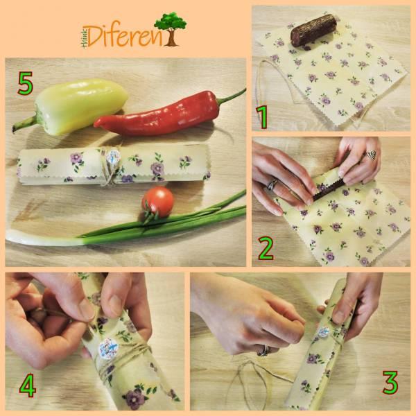 Méhviaszos csomagoló szett - lila fehér kockás